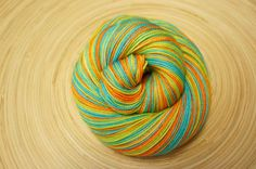The Mystery Machine by SpinningFates Finger Weights, Hand Dyed Yarn, Aqua Blue, Bold Colors, Baby Items, Orange Color, Mystery, Socks, Vivid Colors