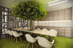 Infusing nature to the office pantry to ease the eye adding quirky boxes on the glass partition. Interior Design Process, Office Interior Design, Office Interiors, Office Plan, The Office, Office Ideas, Glass Partition, Outdoor Furniture Sets, Outdoor Decor