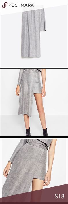 🚨FINAL PRICE 🚨 ZARA Asymmetrical Silver Skirt Perfect holidays brand new skirt with tags never worn and its yours Zara Skirts Asymmetrical