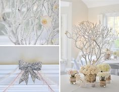 """Branches and Glitter: """"I found an online tutorial about setting the Manzanita branches in Plaster of Paris,"""" Emily said. """"I followed the steps and was very pleased with the end result! I glued dried flowers onto the branches to complete the look.""""  Source: Emily K Paperie"""
