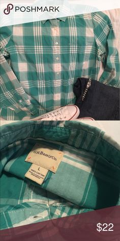 Cute & casual top Greenish/teal plaid shirt. Very comfy and soft fabric. If you are familiar with Bass items, you know the quality of their products. Great for those casual days!  Excellent condition wanting some love. GH Bass Tops