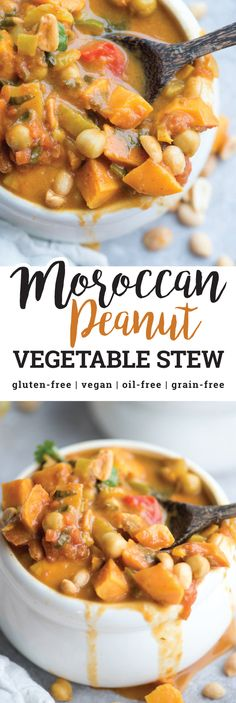 This Moroccan Vegetable Peanut Stew with Sweet Potato is hearty, flavourful and nutritious. Its also naturally vegan and gluten-free and can be made in under 30 minutes in one pot making it perfect for a healthy weeknight dinner. via Running on Real Food Real Food Recipes, Soup Recipes, Vegetarian Recipes, Cooking Recipes, Vegetarian Stew, Vegetarian Kids, Recipies, Kid Recipes, Yummy Recipes