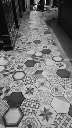 Bar area renovation with Terra collection mix decors greek restaurant in Philadelphia (USA) Honeycomb Tile, Hexagon Tiles, Floor Patterns, Tile Patterns, Bathroom Floor Tiles, Tile Floor, Redo Bathroom, Floor Design, Tile Design