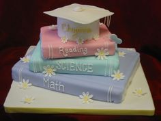 Cheyannes Graduation Cake - An order for a little girl whos graduating from elementary school to middle school. All scratch cakes: top & bottom - chocolate fudge, two middle - yellow. Iced in vanilla bc, covered in vanilla fondant. Fondant/gumpaste flowers & butterfly. Thanks for looking!
