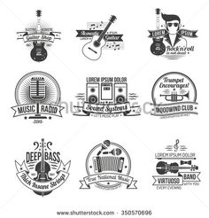Music black label set with styles and instruments isolated vector illustration - stock vector