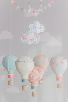 Aqua and Coral Baby Mobile Hot Air Balloon Mobile Custom Baby Elephant Nursery, Mint Nursery, Baby Nursery Themes, Baby Boy Nurseries, Nursery Decor, Nursery Room, Diy Baby Gifts, Ideas Hogar, Aqua