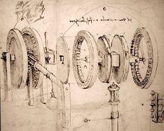 LEONARDO DA VINCI ENGINEER SKETCH MACHINE GEARS DRAWING REAL CANVASART PRINT #Realism