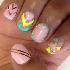 Pastel colorblock nail art design