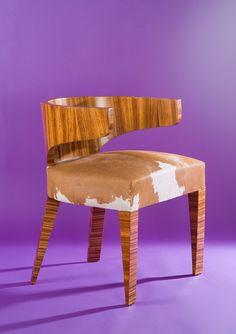 """A"" IS FOR ANDRE ARBUS Zebra Wood Veneer Armchair, 1936. https://www.houseofhoney.la/design-dictionary/a"