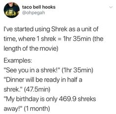 "Somebody once told me the world is gonna roll me, I ain't the sharpest tool in the shed. She was looking kinda dumb with her finger and her thumb in the shape of an ""L"" on her forehead. The 5638.8 Shreks starts coming and they don't stop coming..."