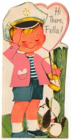 Vintage Greeting Card Valentine Sailor Captain Little Boy (V463)