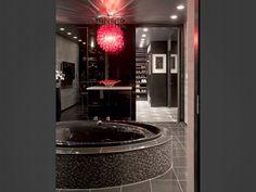 Modern Black Bathroom With Red Chandelier Bathroom Red, Dream Bathrooms, Beautiful Bathrooms, Design Bathroom, Bathroom Ideas, Glamorous Bathroom, Luxurious Bathrooms, Master Bathrooms, Bathroom Organization