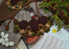 """Купить Колье текстильное """"Шоколадное настроение"""", авторское в интернет магазине на Ярмарке Мастеров"""