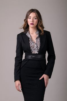 What to Wear to Work   Black blazer belted with a wrap belt   Classic   Office style   Modern outfit   inspiration   Fashion  