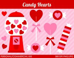Candy Hearts Clipart - Digital Clip Art Graphics for Personal or Commercial Use on Etsy, $5.00