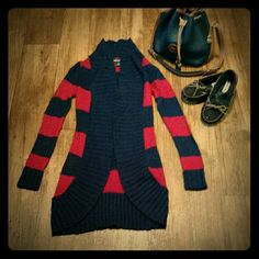 Oversized Sweater! Perfect for chilly winter days! Red and navy stripe long sleeve over sized sweater! Goes perfect with a pair of denim and moccasins! Size Xs!  *this item comes with a free gift and same/next day shipping!* Wet Seal Sweaters Shrugs & Ponchos
