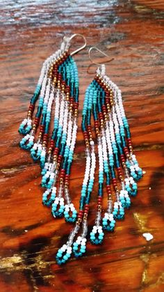 Turquoise feather handmade seed bead earrings