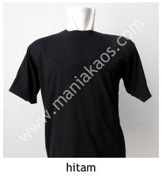 Kaos O-neck Lengan Pendek Hitam, tersedia bahan 20s dan 30s combed cotton. Tersedia juga model lengan panjang warna hitam.