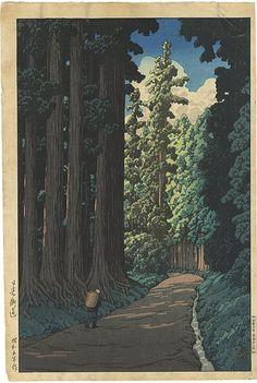 "Japanese Art Print ""Road to Nikko"" by Kawase Hasui, woodblock print reproduction, asian art, cultura Wallpaper Fofos, Art Occidental, Japanese Woodcut, Art Asiatique, Illustration Art, Illustrations, Nikko, Art Japonais, Japanese Painting"
