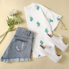 Cactus Print Random Tee is part of Trendy outfits - Cute Comfy Outfits, Cute Outfits For School, Teenage Outfits, Teen Fashion Outfits, Cute Summer Outfits, Outfits For Teens, Stylish Outfits, Fall Outfits, Aesthetic Clothes