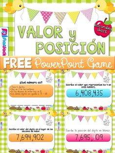 FREE Place Value SPANISH PowerPoint Game - This is a very fun, hands-on SPANISH PowerPoint game to motivate students to practice place value skills in numbers of up to 7 digits.
