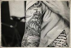 Image via We Heart It #art #ink #ship #tattoo #arr #pirateship