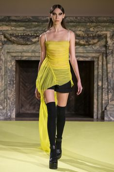 Neon yellow silk chiffon ruched camisole with side train detail  Black wool cuffed camp short