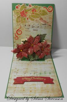 Gorgeous way to turn the Flowers Pop 'n Cuts Insert into a Christmas card. Selmas Stamping Corner: Poinsettia Pop Up Card Flip Cards, 3d Cards, Fun Fold Cards, Pop Up Cards, Cool Cards, Pop Up Christmas Cards, Christmas Pops, Holiday Cards, Christmas Poinsettia