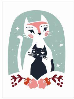 Darling Clementine wenskaart dubbel Cats' Greeting from… Illustrations, Illustration Art, Kids Prints, Art Prints, Scandinavian Kids, All About Cats, Cat Design, Crazy Cats, Cat Art