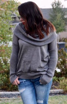 Grey Cowl Neck or Off the shoulder sweater
