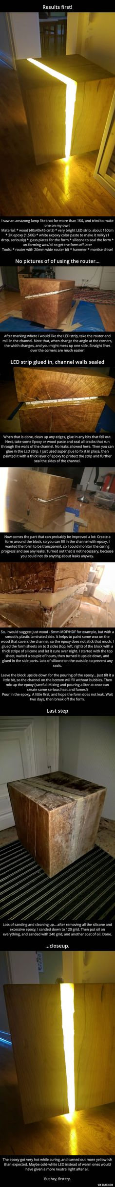 Oak and Epoxy LED lamp - 9GAG