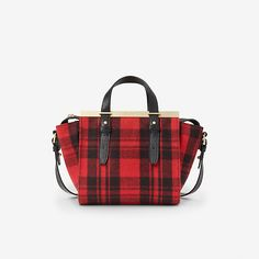 so into this sassy little plaid bag with gold detail for fall! // kate spade