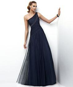e1a6b7dbaae One Shoulder Sheath  Column Floor length Embroidery Deep Blue Evening Gown