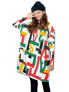 Stylish Letter Pattern Loose Long Sleeve Top
