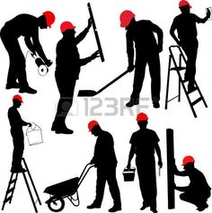 construction workers silhouettes - vector photo