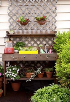 Delightfully Noted: Potting Bench Turned Serving Station Ideas for Outside Entertaining