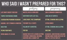 Infographic: How Your Party Days Prepared You for Pregnancy - Pregnancy Humor - Pregnancy Humor