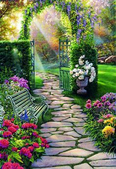 Summer Landscape Cross Stitch PatternPrintable Summer Embroidery PatternDigital Summer PrintsPDF File is part of Garden pathway Summer Landscape Cross Stitch PatternPrintable Summer Embroidery Patte - Magic Garden, Dream Garden, Garden Paths, Garden Art, Beautiful Nature Wallpaper, Beautiful Landscapes, Beautiful Gardens, Beautiful Flowers, Beautiful Beautiful