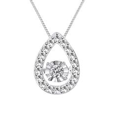 Sterling Silver 1/5ct TDW Dancing Stone Lab Diamond Drop Necklace (D-Clear, VVS) #Gemdepot #DancingDiamond