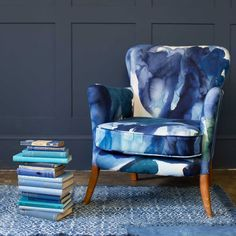 Interior designer and colour lover Sophie Robinson looks at why so many of us are opting for navy within our interiors. The inky watercolour design on this armchair helps to add interest and pattern to a room scheme. Half Painted Walls, Sophie Robinson, Bluebellgray, Bespoke Furniture, Unique Furniture, Vintage Chairs, Upholstered Furniture, Armchair