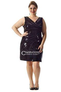 4dcbbc576b184 Plus Size Sexy Sequin Plus Size Little Black Dress Plus Size Short Dresses