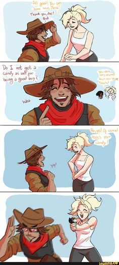 overwatch, mercy, mccree - He's been a very good boy! Overwatch Comic, Overwatch Memes, Overwatch Fan Art, Bd Cool, Geeks, 4 Panel Life, Gaming Memes, Funny Comics, Fan Girl