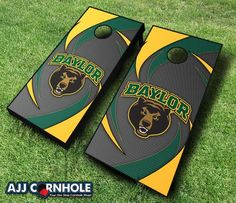 Officially Licensed Baylor Cornhole Set. Show off your Bear pride at your next cookout or tailgate with our signature swoosh design! www.ajjcornhole.com