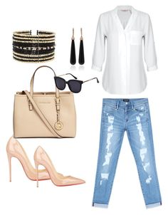 """""""Look casual"""" by elianalinhares on Polyvore featuring moda, Bebe, Christian Louboutin, Michael Kors, Eloquii e SUSAN FOSTER"""