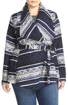 Plus Size Jacquard Wrap Coat