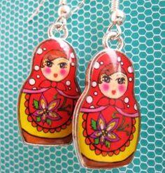 Nesting doll earrings (
