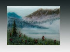 Fused glass frit painting -- made entirely from crushed glass -- no painting involved. www.pezzulichglassworks.com