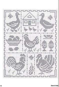 chicken, goose, rooster, turkey, farm chart cross-stitch or filet crochet Chicken Cross Stitch, Cross Stitch Bird, Cross Stitch Samplers, Cross Stitch Animals, Cross Stitch Charts, Cross Stitch Designs, Cross Stitching, Cross Stitch Embroidery, Embroidery Patterns