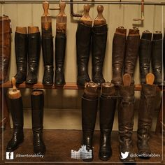#Behindthescenes in the boot room at #DowntonAbbey. How neatly arranged they are! #Downton #Series4 #Costumes #Props