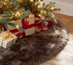 Faux Fur Tree Skirt #potterybarn
